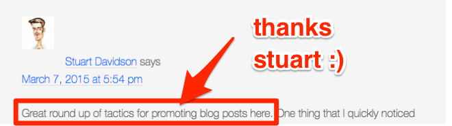 Example of blog comment link