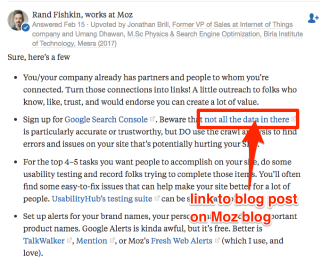 Example Quora thread answered by Rand Fishkin