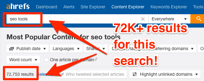 Finding new link building opportunities in Ahrefs Content Explorer