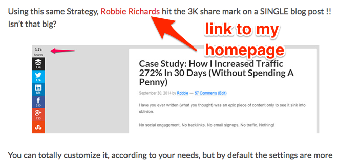 Example of article link pointing to the home page