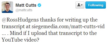 Matt Cutts Twitter response