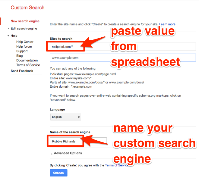Set up Custom Search Engine