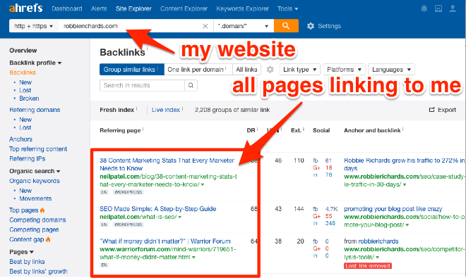 Use Ahrefs Site Explorer to find all sites linking to you
