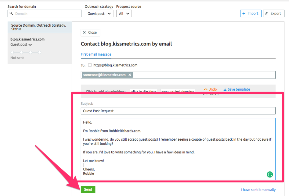 Sending emails with SEMrush link prospect tool