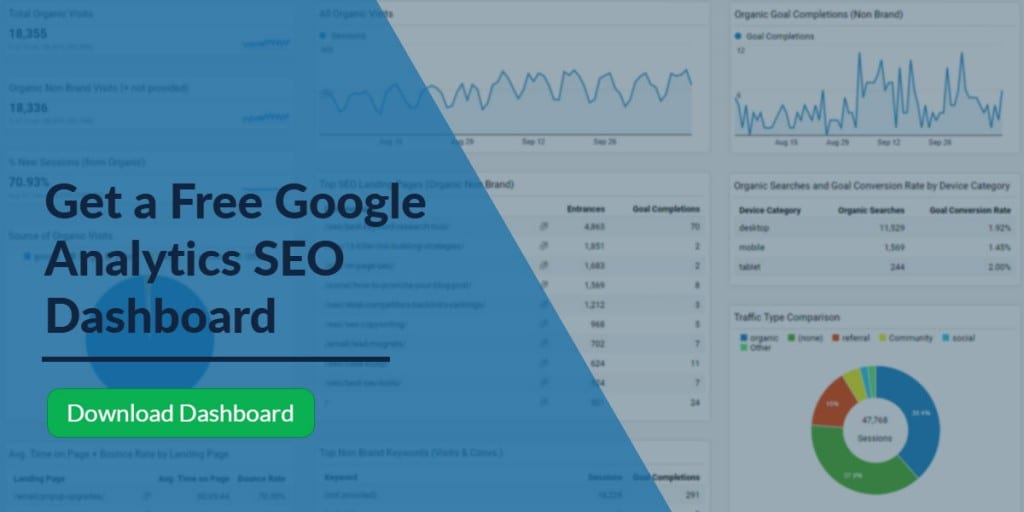 Downloadable Google Analytics SEO metrics reporting dashboard