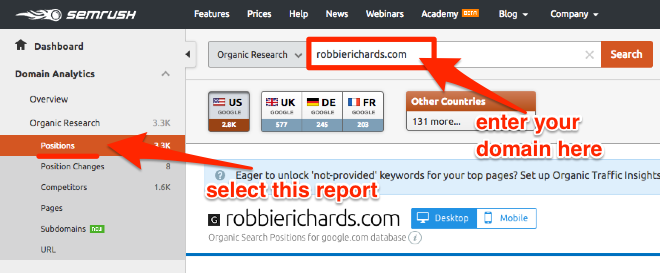Finding keyword rankings in SEMrush