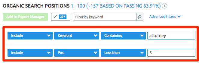 Filtering SEMrush keyword reports