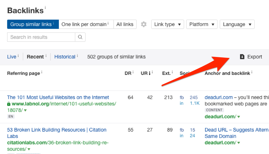 Export backlinks from Ahrefs