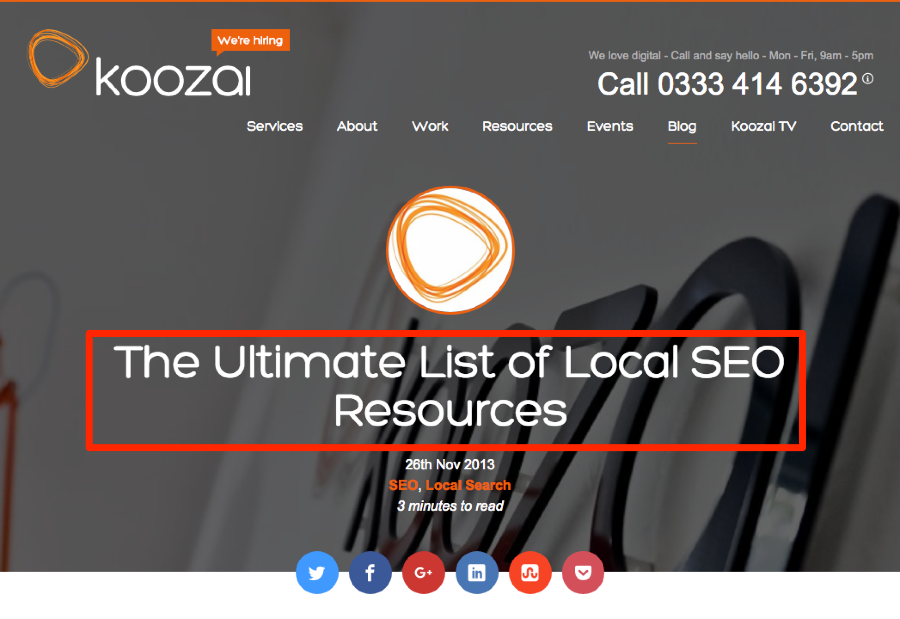 Koozai SEO resource list