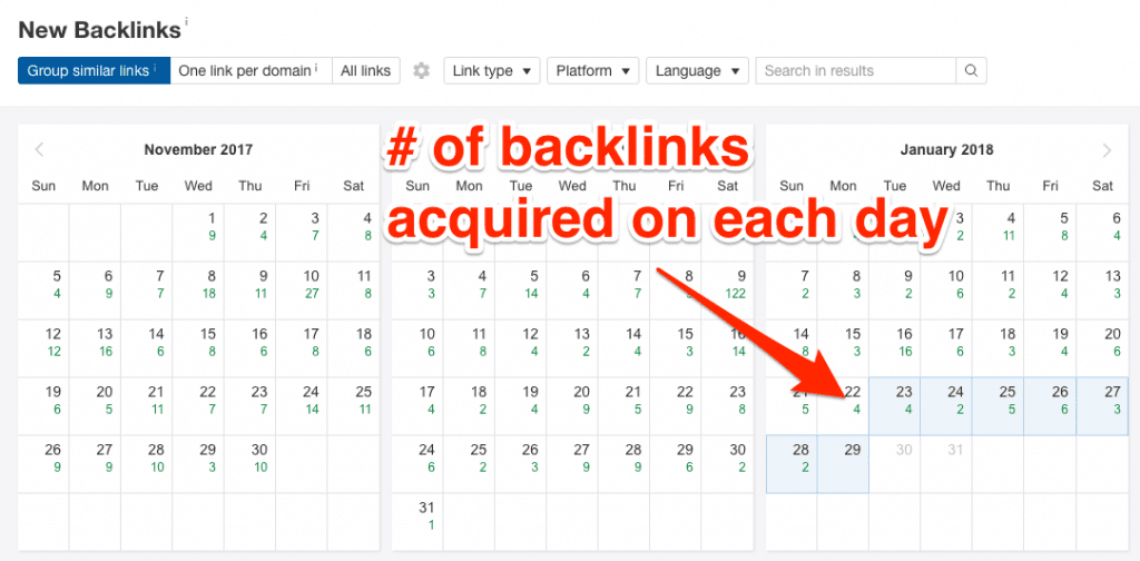 New Backlinks report in Ahrefs