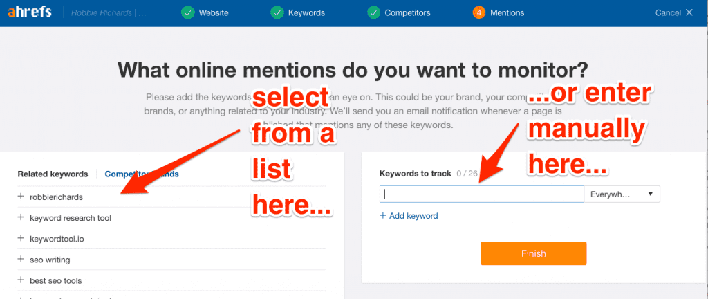 Entering brand mentions into Ahrefs