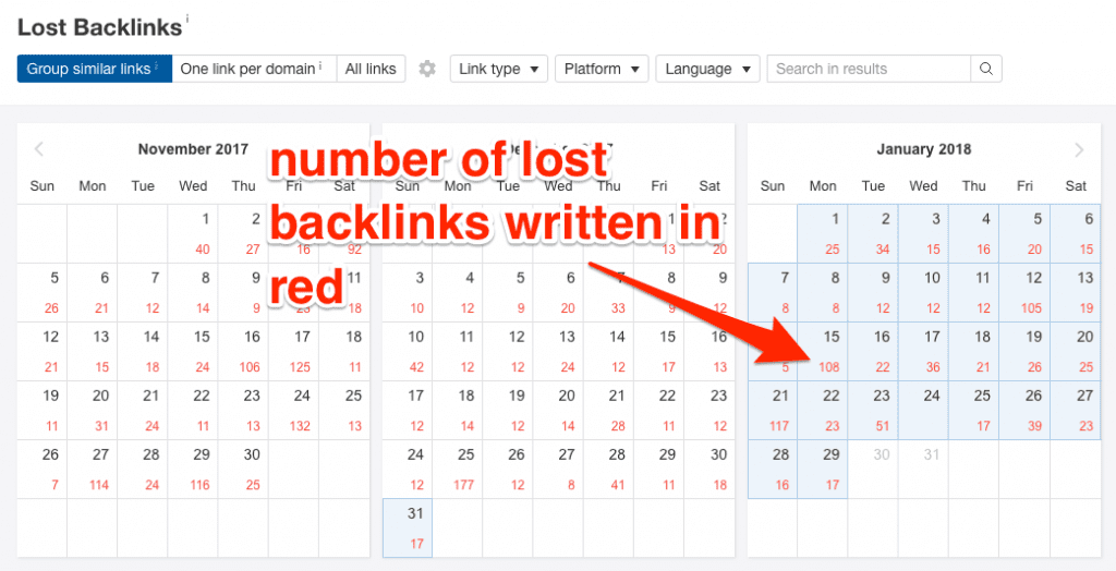 Ahrefs lost backlinks report