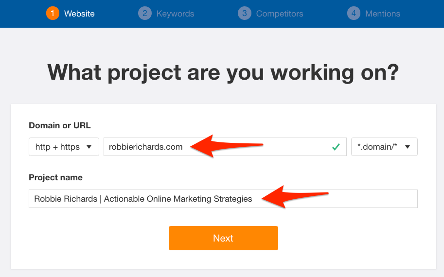 Setting up a project in Ahrefs