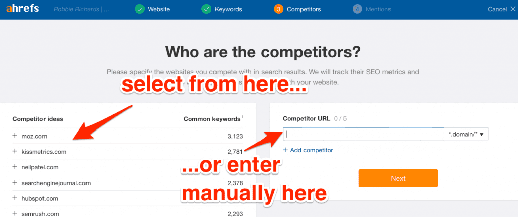Selecting competitors to track in Ahrefs