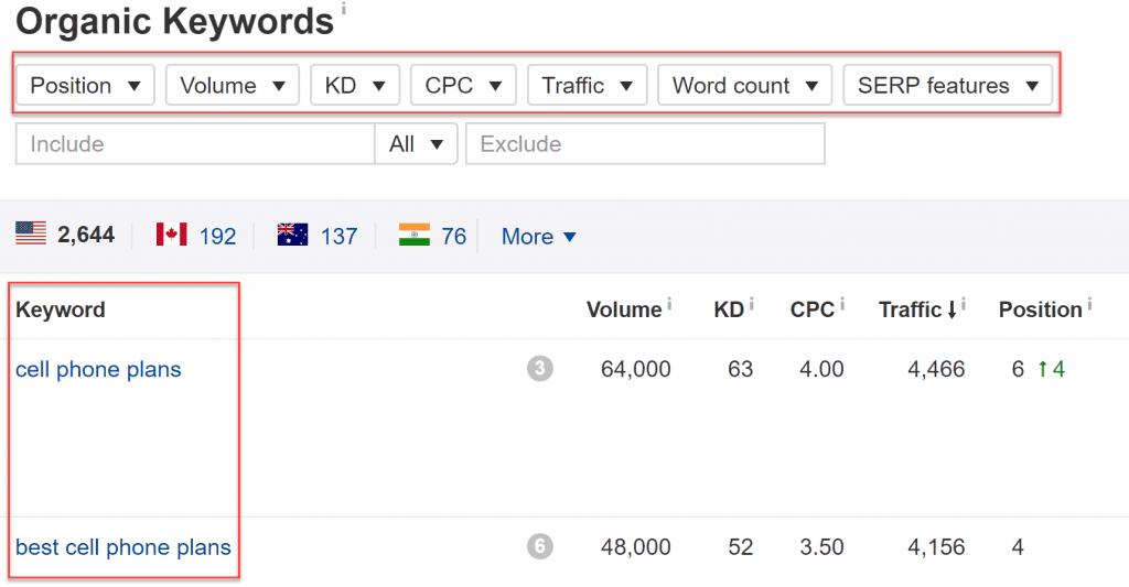 Ahrefs keyword filters