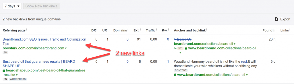 Report showing new links acquired in last 7 days