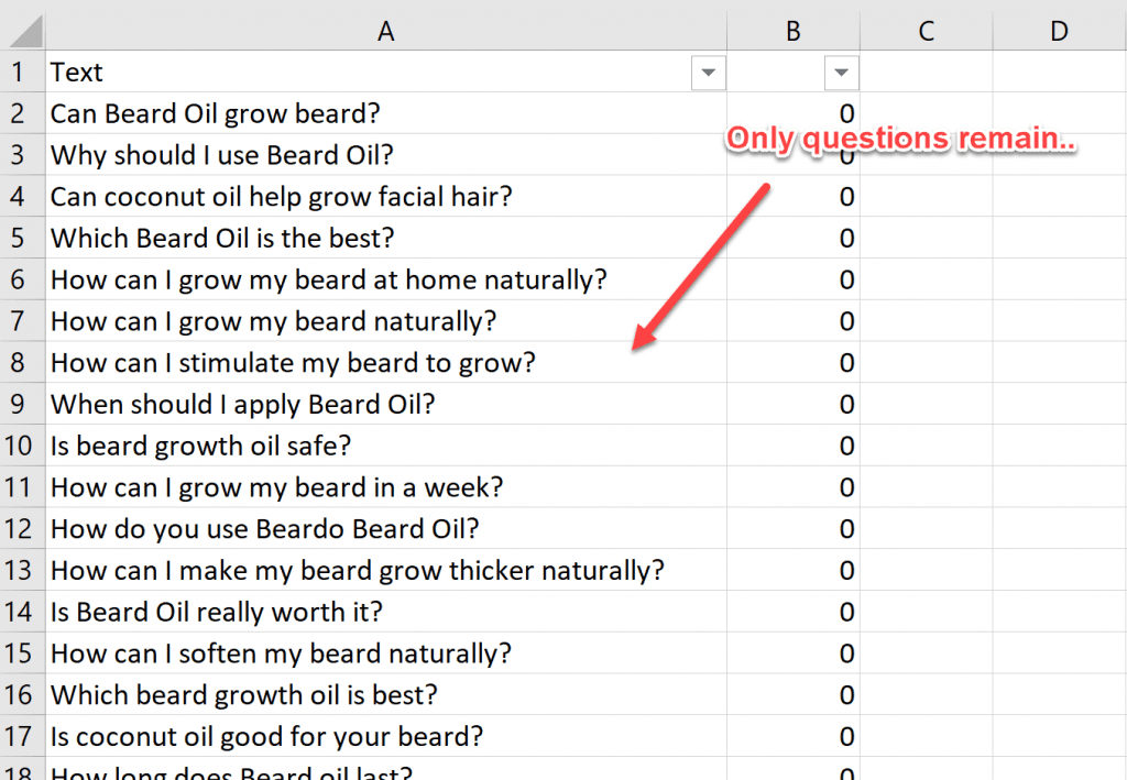 Clean keyword results in excel