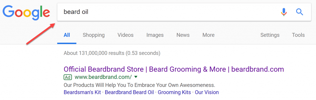 Typing beard oil into Google