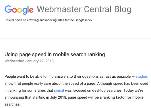 Google announcing impact of page speed on mobile rankings