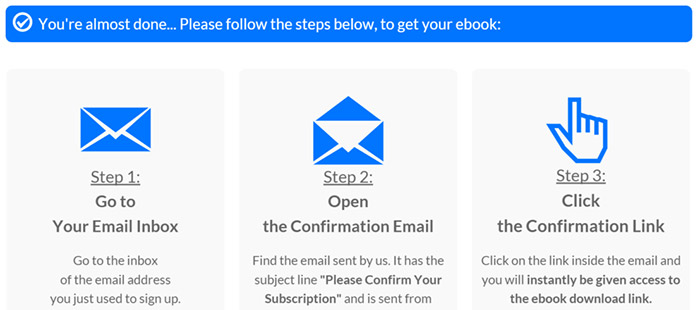 Example email confirmation page