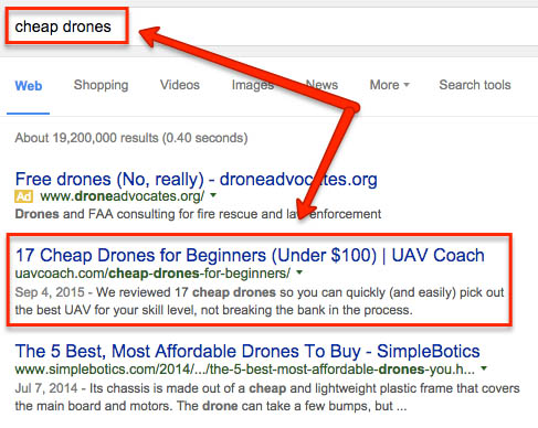 SEO case study: ranking for cheap drone
