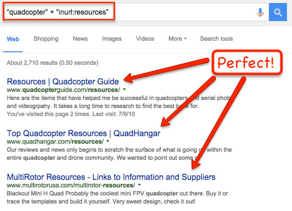 Search operators to find resource pages