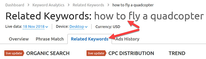 Related keywords in SEMrush
