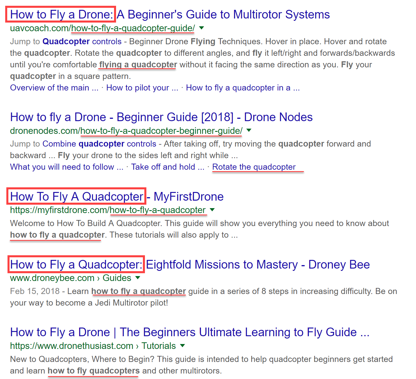 Examples of on-page optimization in the SERPs