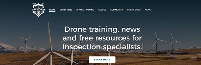 Screenshot of UAV coach website