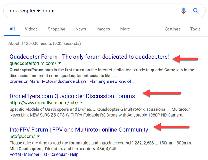 Forum targets in the SERPs
