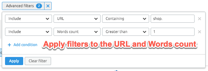 Applying keyword filters in SEMrush