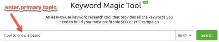 Expanding keyword list with SEMrush