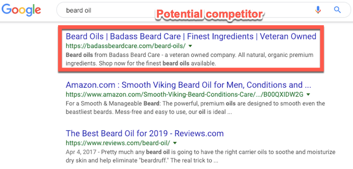 Identifying organic search competitors in Google
