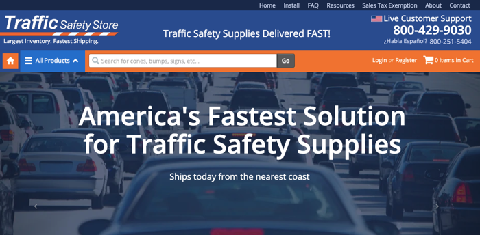Traffic Safety Store homepage