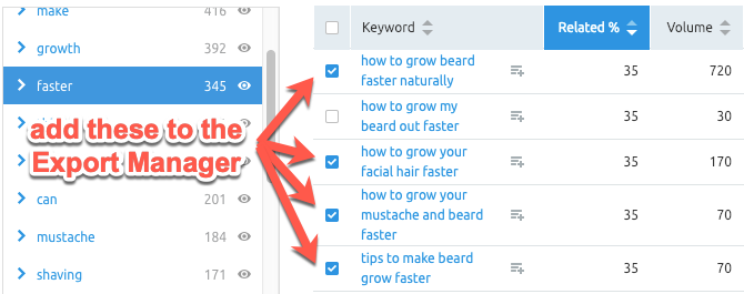 Building a keyword list with the Export Manager inside SEMrush