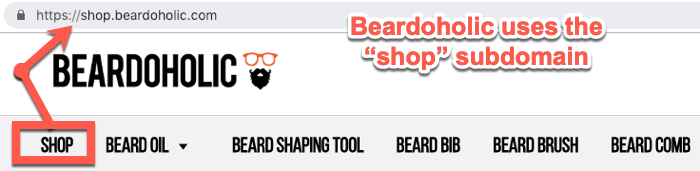 Beardaholic shop subdomain