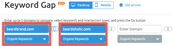 Analyze competitor keywords with the Gap Analysis tool in SEMrush