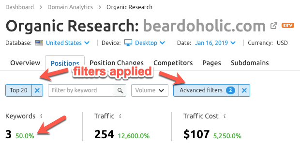 Using keyword filters in SEMrush