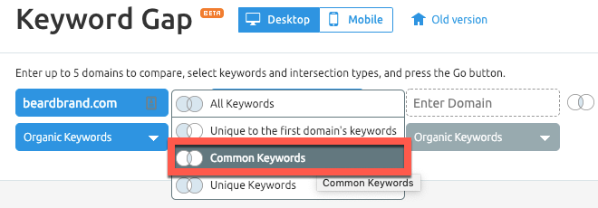 Common keywords report in SEMrush
