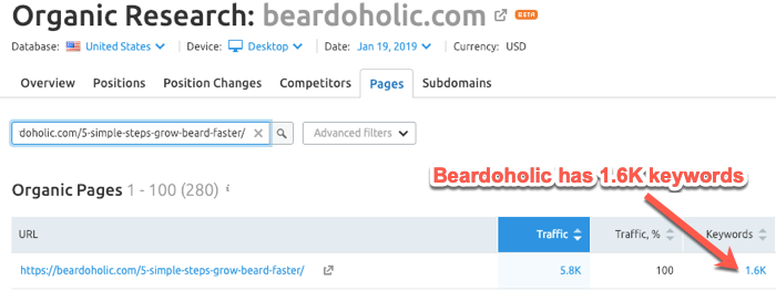 Beardaholic article ranking for 1,600 different keywords