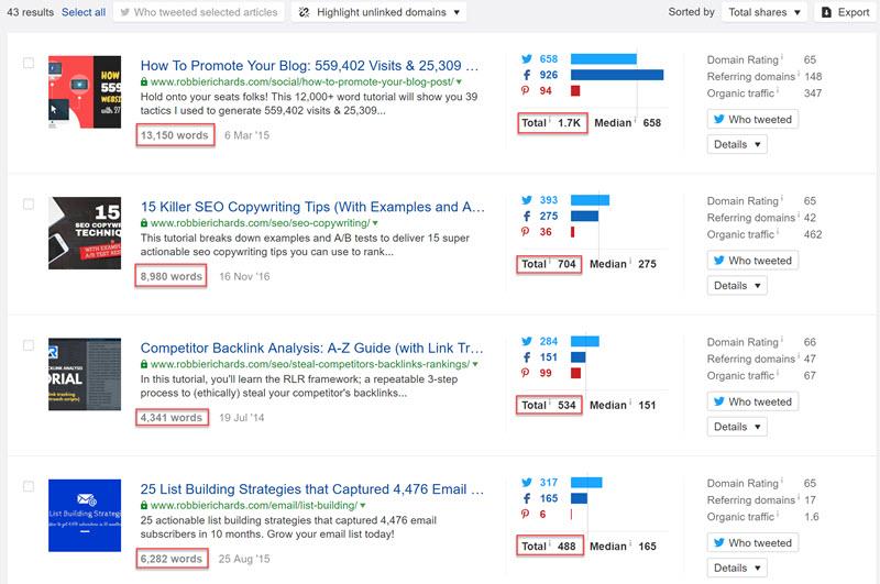 Ahrefs Content Explorer most shared content