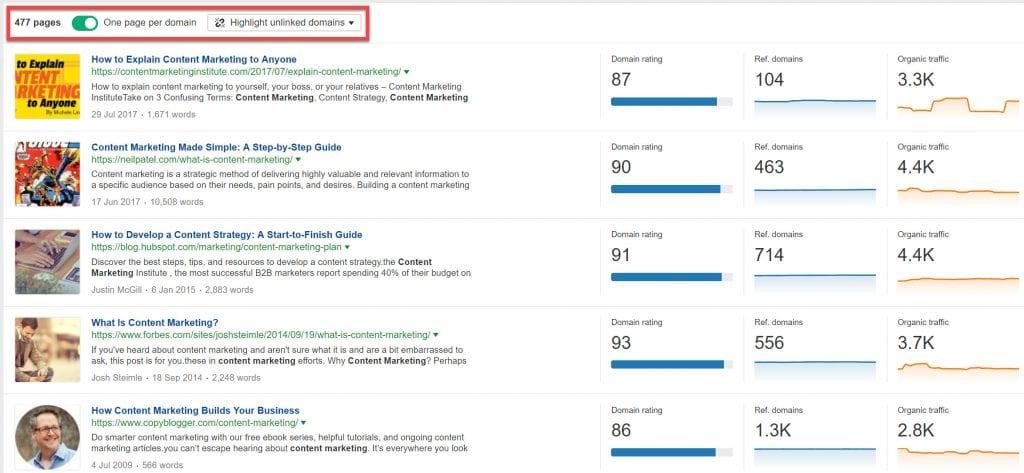 Content Explorer results