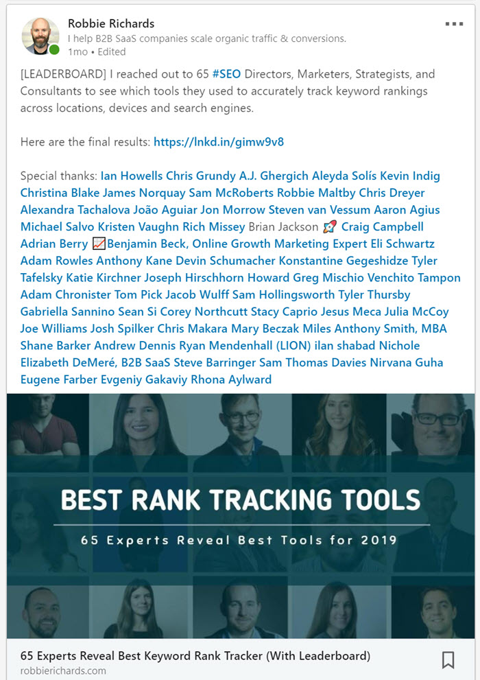 List post mentions on LinkedIn