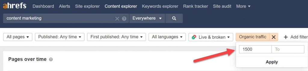 Using filters in Ahrefs Content Explorer