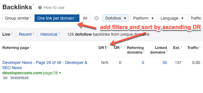 Adding filters in the Ahrefs Backlinks report