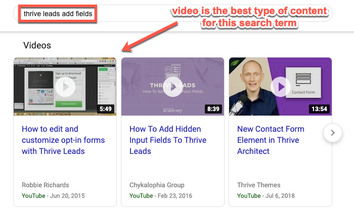 Example of video content types ranking in the SERPs