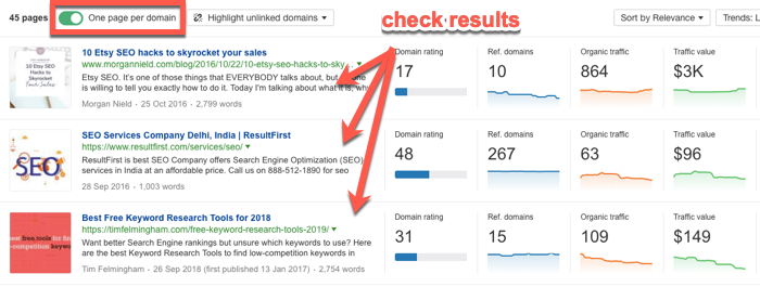 Link prospects in the Ahrefs Content Explorer