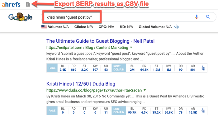 Export SERP results with the Ahrefs SEO Toolbar