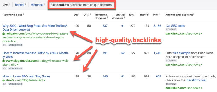 Applying link filters in Ahrefs