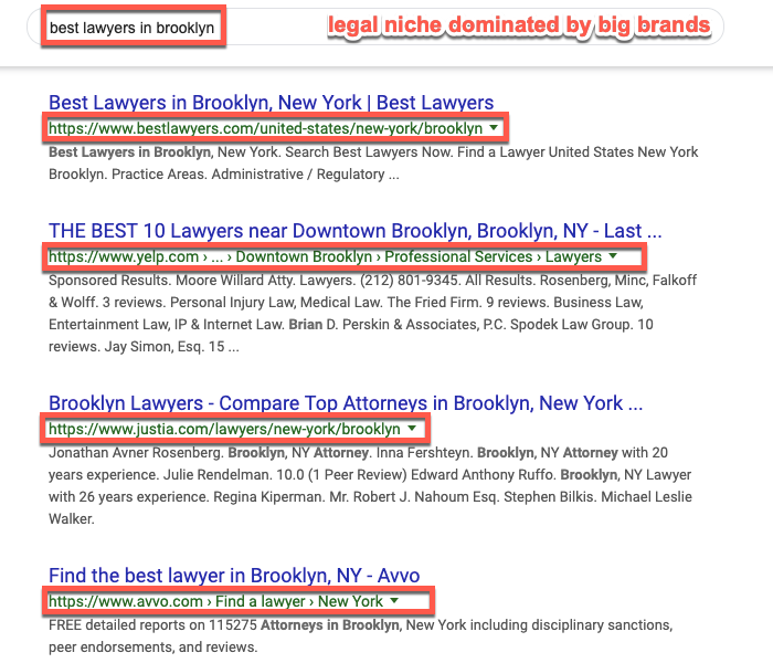 Barnacle SEO example in the legal niche